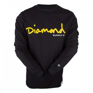 Camiseta Diamond Manga Longa Script - Preto  216e68c8524