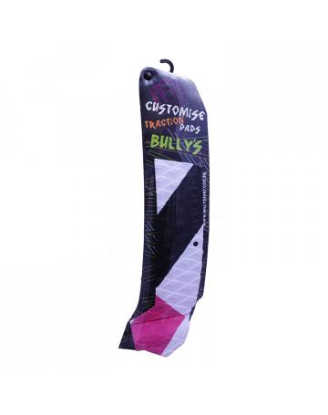Deck Bully's Customise Traction (Lado Direito) Faixas Branca/Preta/Rosa