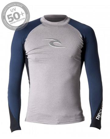Camiseta Rip Curl Lycra Logo Wave - Cinza
