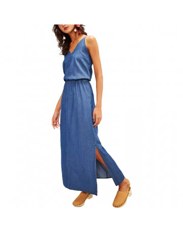 Vestido Cantão Jeans Long - Azul