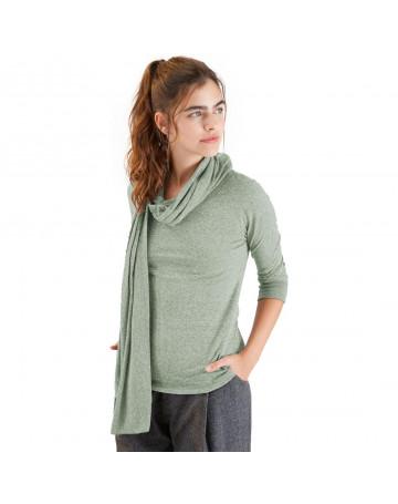 Blusa Cantão com Cachecol Malha Verde Mescla