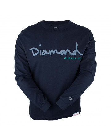 Camiseta Diamond Manga Longa Script - Marinho