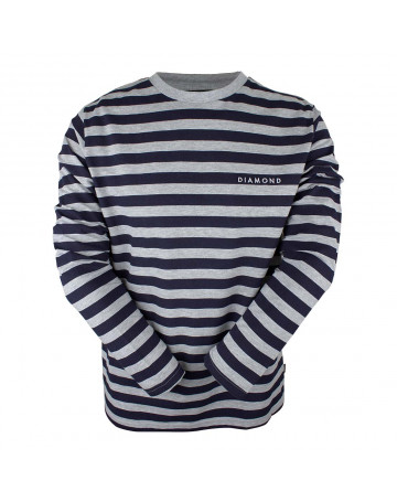 Camiseta Diamond Manga Longa Striped - Cinza Mescla Azul