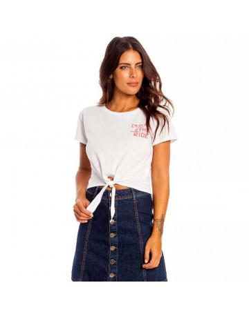 Camiseta Hang Loose Cropped Enjoy The Ride - Branca