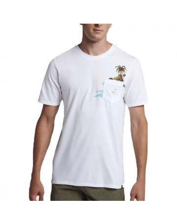 b8640eb3a8 Camiseta Hurley Premium Flamingo Pocket - Branco