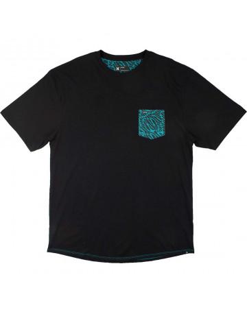 Camiseta Hurley Fluid Noise Extra Grande - Preto