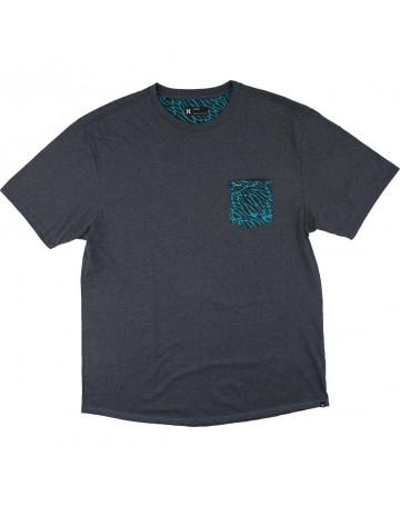 Camiseta Hurley Fluid Noise Extra Grande - Chumbo Mescla
