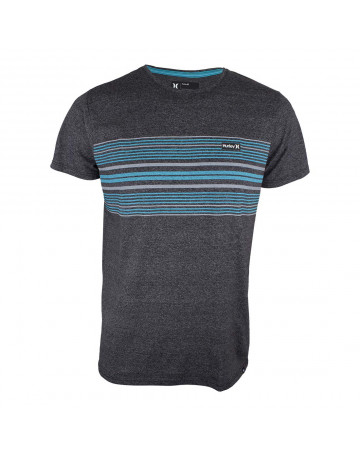 Camiseta Hurley Premium Stripe - Chumbo Mescla Azul