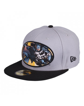 Boné New Era Batman DC Comics 59 fifty Cinza e Preto