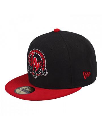 Boné New Era LA Dodgers Preto-Vermelho  94bbcf7925d