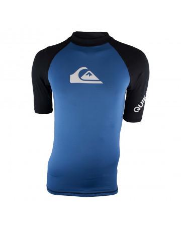 2fb51e357b36c Camiseta Lycra Quiksilver Ragglan All Time - Azul Preto