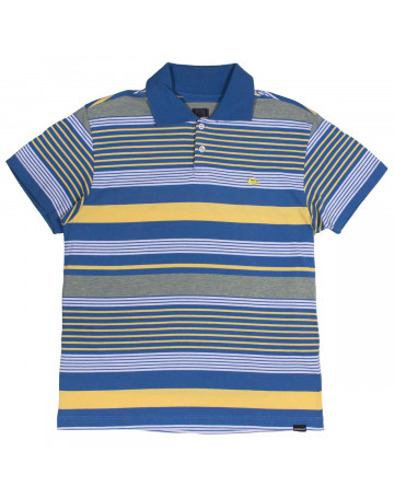 ed0f94d8c4 Camisa Polo Quiksilver Juvenil Stripes - Azul Amarelo