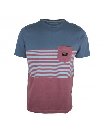 Camiseta Quiksilver Volley - Azul Mescla/Vermelho Mescla