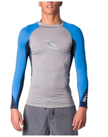 Camiseta Rip Curl Lycra Logo Wave - Cinza/Azul