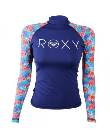 Camiseta Roxy Lycra Rashguard Surf Kona Floral Azul  33e1e334864d1