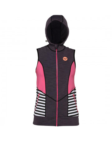 Jaqueta Neoprene Roxy Close Out Hooded Chumbo Mescla/Rosa